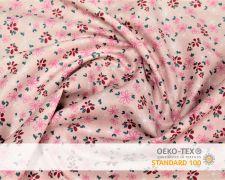 Baumwollstoff Rosa mit pinken Blumen Print