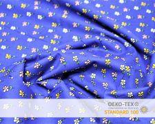 Baumwollstoff Blau mit bunten Blumen Print