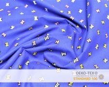 Baumwollstoff Blau mit bunten Schmetterlingen Print