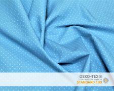 Baumwollstoff Blau mit kleinen Punkten Print