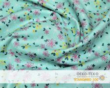 Baumwollstoff Aquablau mit pinken Blumen Print