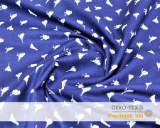 Baumwollstoff Blau mit Vogel Print