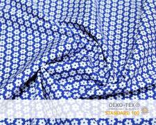 Baumwollstoff Blau mit weißen Blumen Print