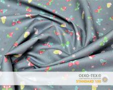Baumwollstoff Grau mit bunten Schmetterlingen Print