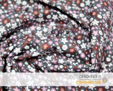 Baumwollstoff Grau mit Fuchsia Blumen Print