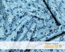 Baumwollstoff Jeansblau mit kleinen Blumen Print