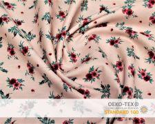 Baumwollstoff Lachs mit roten Blumen Print