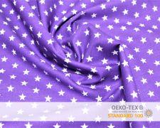 Baumwollstoff Lila mit Sternen Print