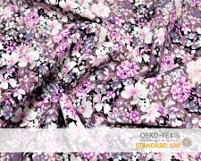 Baumwollstoff Vintage Altrosa mit lila Blumen Print