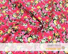 Baumwollstoff Vintage Rosa Rot mit Blumen Print