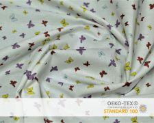 Baumwollstoff Weiß mit bunten Schmetterlingen Print
