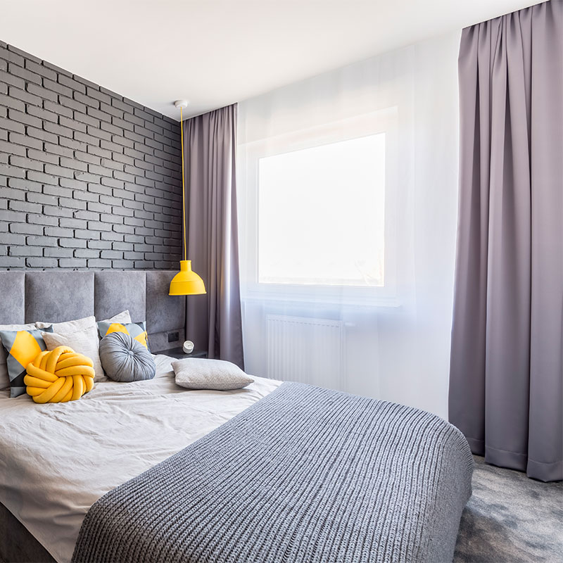 Passende graue Vorhänge für das Schlafzimmer